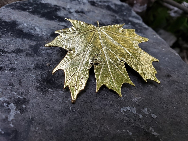 Real Leaf 24K Gold Brooch Pin GMB Real Leaf Jewelry Mother Wife Anniversary Real Dipped Maple Leaf Bridesmaids Wedding Gifts