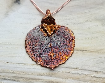 Iridescent Copper Dipped Real Aspen Leaf Necklace Pendant Outdoor Rustic Nature Earth Jewelry Tree Plant (N234)