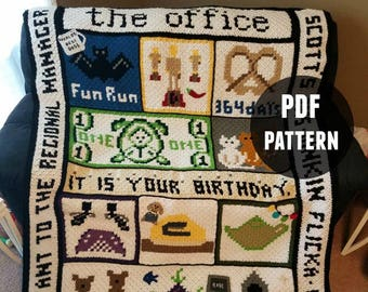 PDF Pattern ONLY - The Office Crochet Blanket - NOT a finished blanket