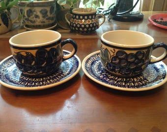 Polish Pottery Cup and Saucer Set