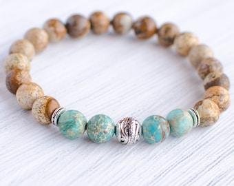 Beaded Gemstone Stretch Bracelet,Imperial Jasper Blue Sea Sediment Turquoise Bracelet,5.5mm Genuine Lake Blue Sea Sediment Turquoise Jasper