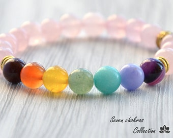 Rose quartz Yoga bracelet Gemstone Mala Beads Chakra Bracelet 8mm Beaded Bracelet Energy Bracelet