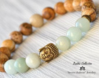 8mm Beaded bracelet Gemstone Jewelry Mala Beads Buddha Bracelet Energy Bracelet Yoga Jewelry Gemstone Bracelet Yoga Bracelet