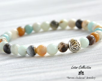 6mm Amazonite bracelet • Amazonite Jewelry • Yoga bracelet • Yoga Jewelry • Beads bracelet • Beads Jewelry • Lotus bracelet • Lotus Jewelry