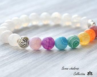 8 mm Chakra Bracelet - Yoga Jewelry - Mala Beads - Gemstone Jewelry - Energy Bracelet - Chakra Jewelry - Yoga Bracelet - Mala Prayer Beads
