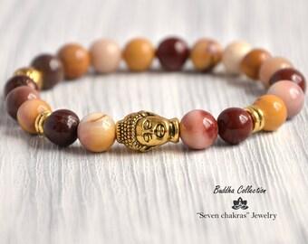 Moukaite Beaded Yoga bracelet Gemstone Jewelry for men or women 8mm Mala Beads Buddha Bracelet