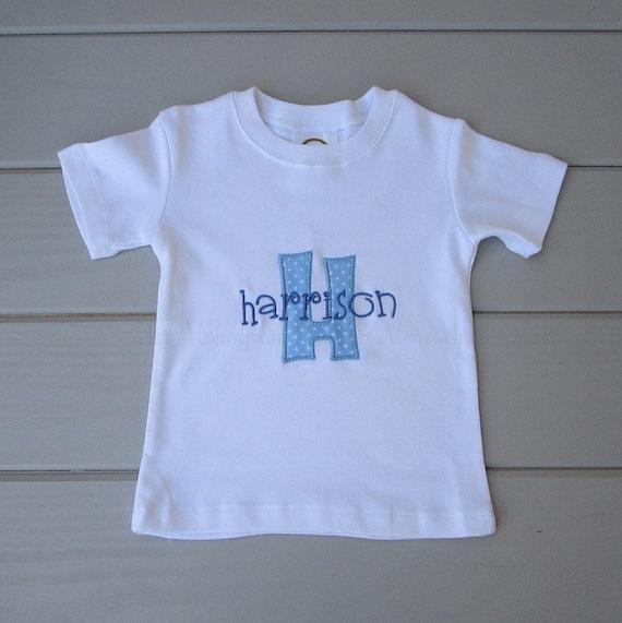 77f8548fd8f21 Monogrammed Boys Shirt / Personalized Toddler Shirt / Monogrammed Shirts  for Boys / Toddler Shirt / Appliqued / Personalized Boys Shirt