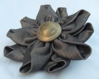 Grayish Brown Stretch Taffeta Pin/Brooch- Handmade Fabric Pin-Kanzashi Flower Pin-Accessory To Wear-Makes A Special Gift!