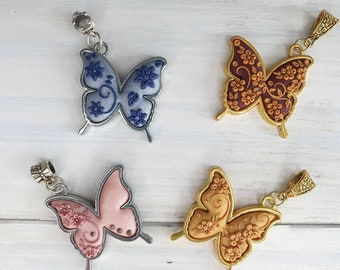 Pendant Necklace butterfly polymer clay embroidery rhinestones golden blue pink brown romantic woman gift