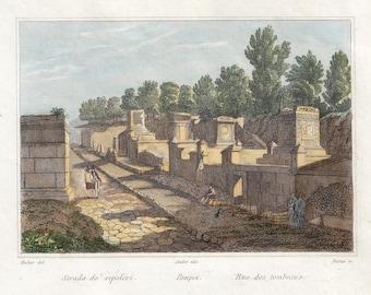 Pompeii, Road of the sepulchres, antique print, Audot, ' 800