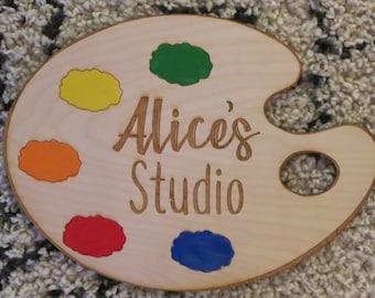 Art Palette Custom Name Tag Badge ID Pin Magnet for Artist Teacher Painter
