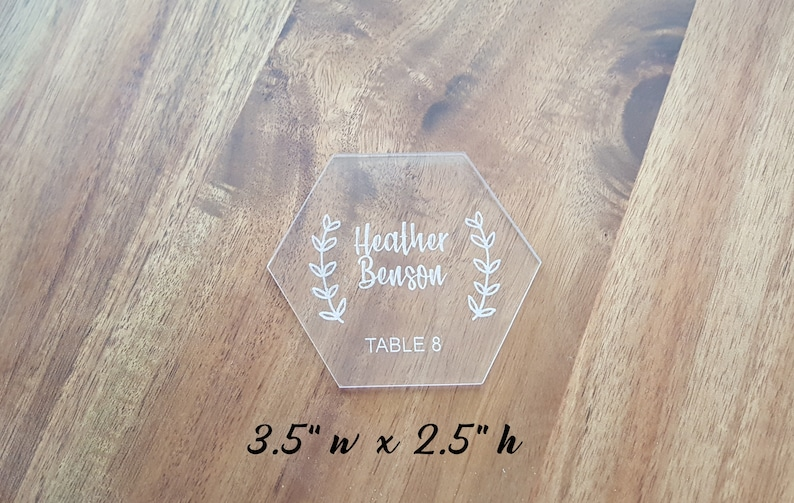 Wood or Clear Acrylic Hexagon or Rectangle Laser Engraved Tiles Place Cards  Table Setting, Seat Cards, Table Cards Wedding Place Cards - 3