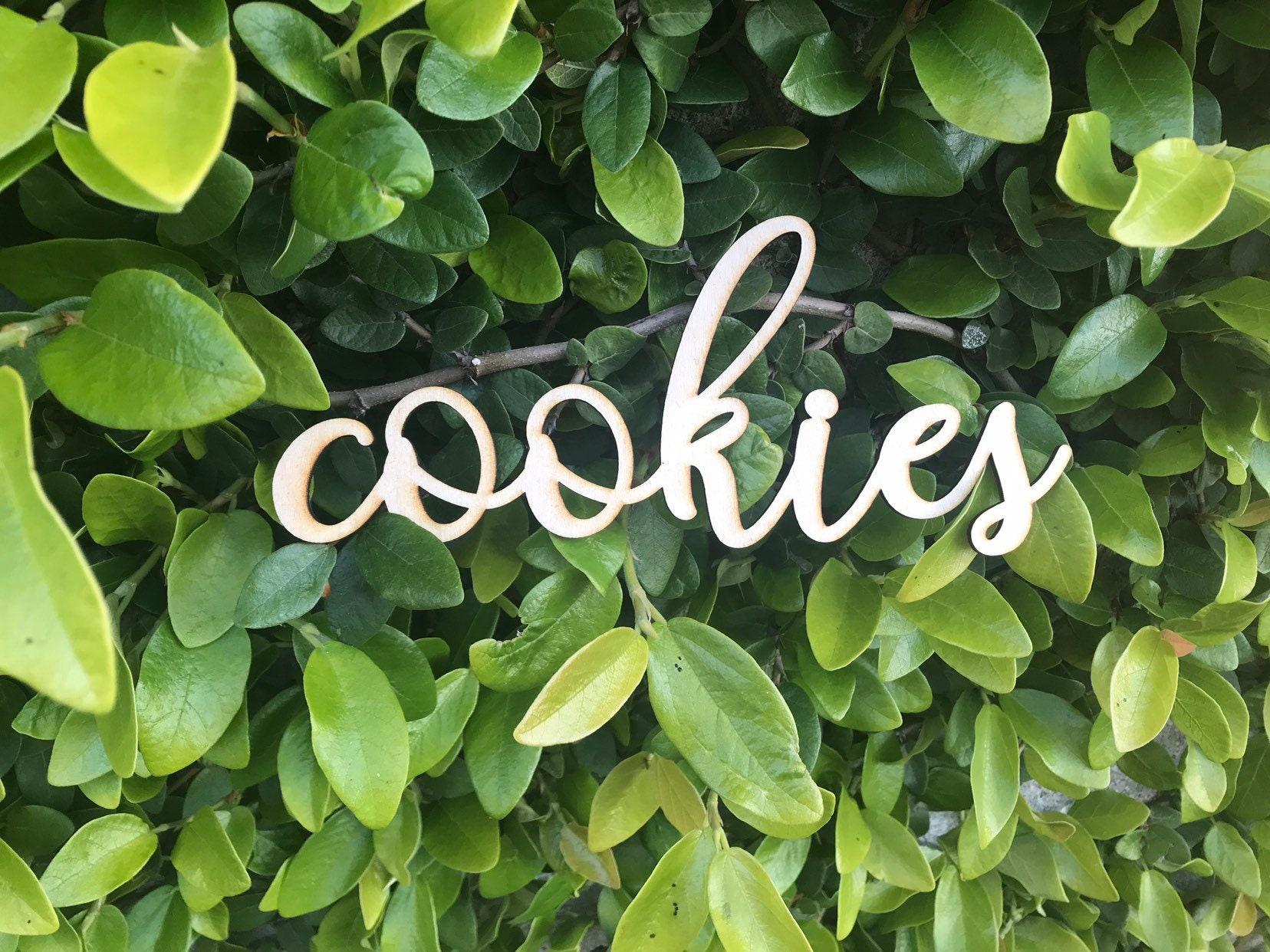 Custom Wooden Words Cursive Natural Wood Sign Cookies Sign Love