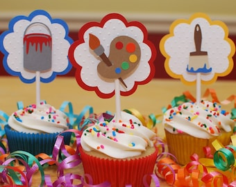 Art Party Cupcake Toppers