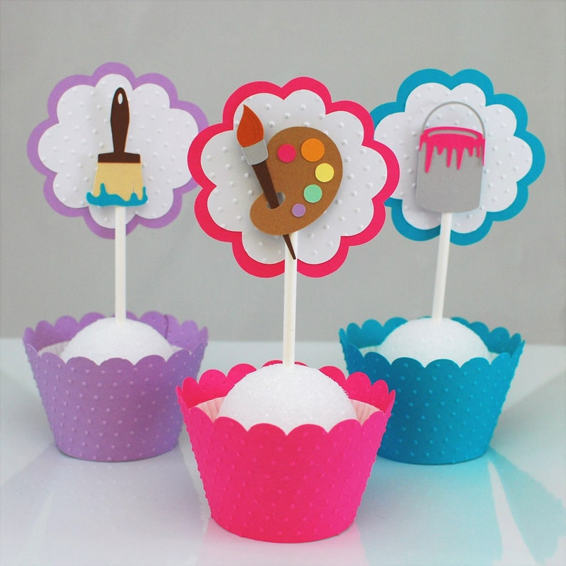 Art Party Cupcake Toppers Painting Cake
