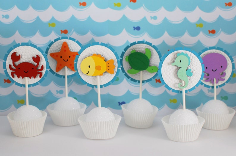 Ocean Party Cupcake Toppers Under The Sea Birthday Cake Creature P
