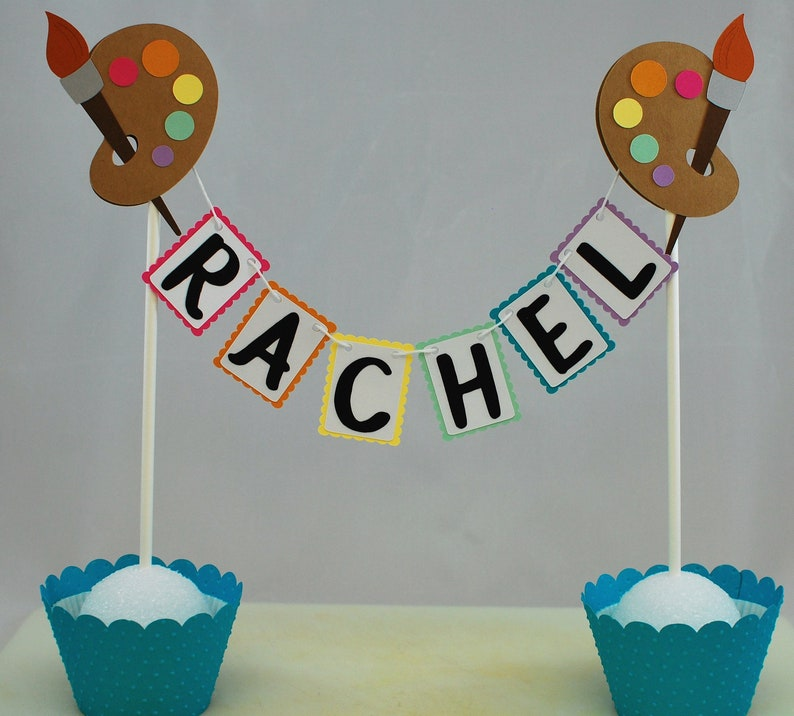 Art Party Cake Topper Painting Birthday Party Decorations
