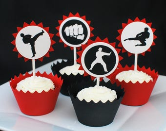 Karate Party Cupcake Toppers - Tae Kwon Do Party Cake Toppers - Martial Arts Cupcake Picks - Ninja Cupcake Toppers (set of 12)