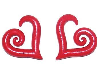 Red Heart 6 Gauge 4mm Handmade Clay Earrings