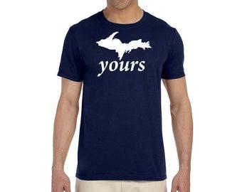 UP Yours Michigan Peninsula White Logo T Shirt Pure Michigan Upper Peninsula Yooper Michigander Tee NEW U.P.