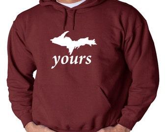 UP Yours Michigan Peninsula Black Logo Hoodie Pure Michigan Upper Peninsula Yooper Michigander Sweatshirt NEW U.P.