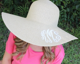 Monogrammed Floppy Hats, Monogram, Beach Hat, Bridesmaids, Bachelorette Party, Bride, Initials, dashingvacations