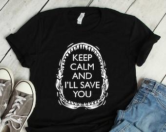 0c72e87e96 Keep Calm Shark Shirt Kids Boys Girls Men Women / Raglan 3/4 Sleeve / V  Neck / Tank / Hoodie Sweatshirt / Beach Week Birthday Party TShirt