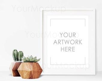 Styled Frame Mockup, Cactus, White Frame Mockup, Scandinavian, Modern, Styled Photography Mockup, Mock-up, Digital Frame, Instant download
