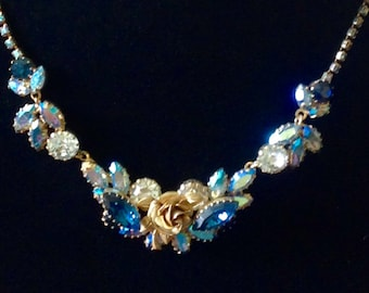 Vintage Super Sparkly AB Golden Rose and Rhinestone Necklace