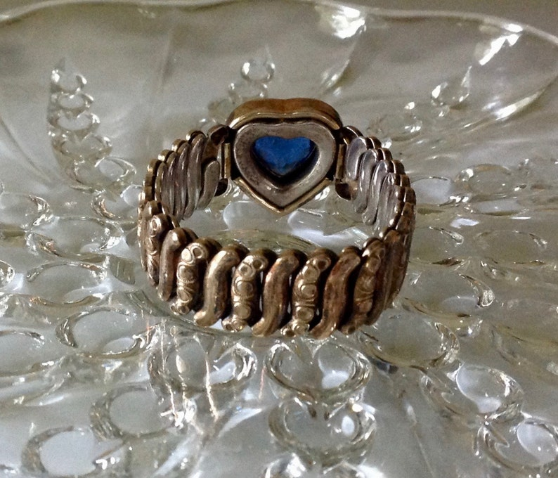 Vintage 1940/'s Co-Star Heart Sweetheart Expansion Bracelet Luscious Blue Rhinestone Focal WW II Bracelet Adjustable to 7 12 Inches