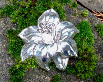 Carved Sterling Silver Tiger Lily Brooch