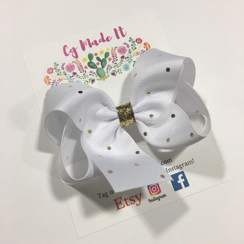 Gold Glitter White and Gold Small Polka Dot Hair Bow