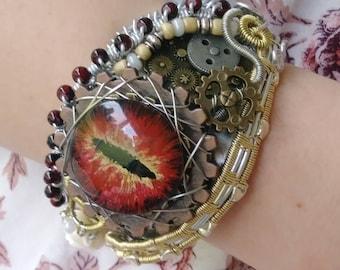 Dragon Eye Bracelet,hand made bracelet,wire wrapped bracelet,Steampunk bracelet