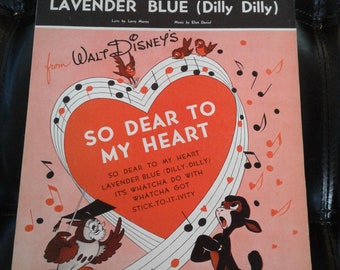 Vintage Sheet Music - Lavender Blue (Dilly Dilly) from Walt So Dear to My Heart - Copyright 1948