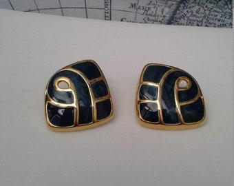 Vintage Blue & Gold Mod Earrings - Pierced