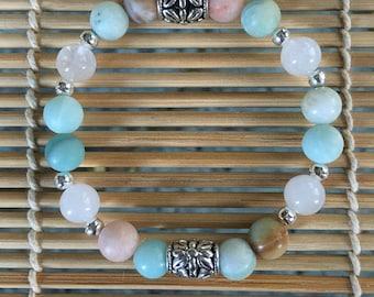 Protection Healing Bracelet Blue Green Hue =Amazonite=White Jade=Financial Good Luck=Men Women Teens Tweens Girls Protection bracelet