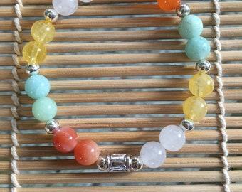 Financial Money Magnet Bracelet=Citrine Green Jade Carnelian White Jade=Moms financial bracelet=Women financial money bracelet=Teens Tweens