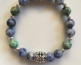 Protection Grounding Healing Bracelet=Blue Hue= Jasper= African Turquoise=Men protection bracelet=Women protection calming healing bracelet