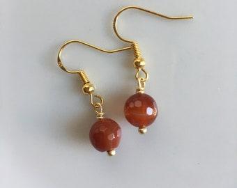 Red Earrings Gold= Earrings=Red Striped Agate Earrings=Moms Earrings=Womens Earrings=Minimalist Earrings=Teens Tweens Girls Red Earrings