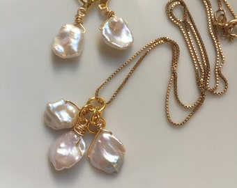 Keshi Pearls White Gray Hue=Women Keshi Pearl Jewelry Set=Bridesmaid Jewelry Gift Set=Maid of Honor Jewelry Gift Set=Keshi Pearl White