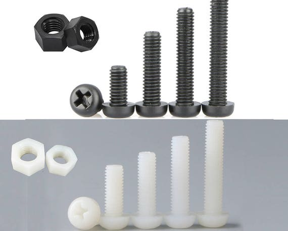 M4 x 6mm Plastic Hex Nuts Phillips Pan Head Screw Bolt Clear 10 Sets