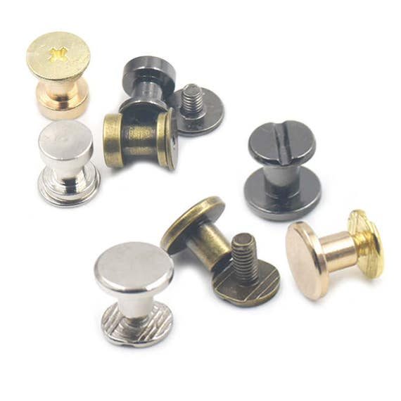 50 Set 10*13mm Solid Brass Rivet Chicago Screw for Leather Craft Cambered