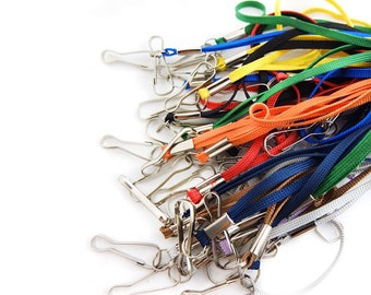 50 Pcs - 90cm Spring Hook Band Lanyard Neck Strap ID Card Badge Holder Snap for Factory worker Students office worker Mix Color OS084