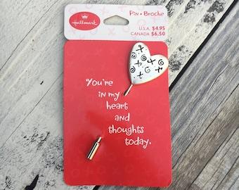 Vintage hallmark pin, vintage Valentine's Day pin, vintage Valentine's heart pin, silver heart pin and Valentine's card