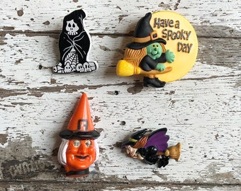 Vintage Halloween Pin, Vintage Witch Lapel Pin, Vintage Skeleton Halloween Pin, Vintage Witch on Broom Pin, Have a Spooky Day