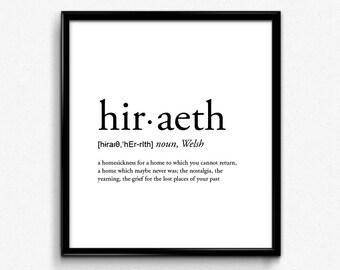 Charmant Hiraeth Definition, Romantic, Dictionary Art Print, Office Decor,  Minimalist Poster, Funny Definition Print, Definition Poster, Quotes