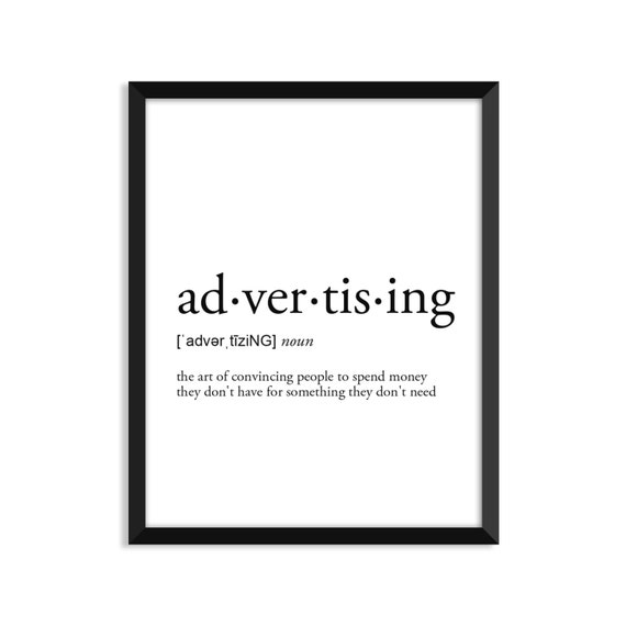 Advertising Definition Romantic Dictionary Art Print Office