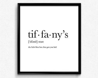 Tiffanyu0027s Definition, Dictionary Art Print, Dictionary Art, Home Decor,  Minimalist Poster,