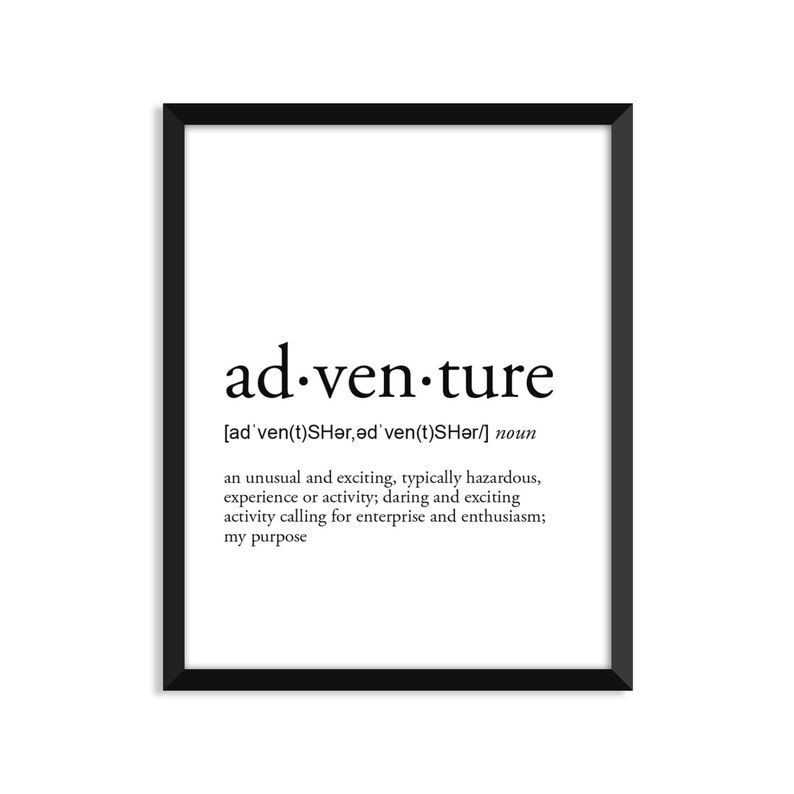 Adventure definition romantic dictionary art print office  Etsy