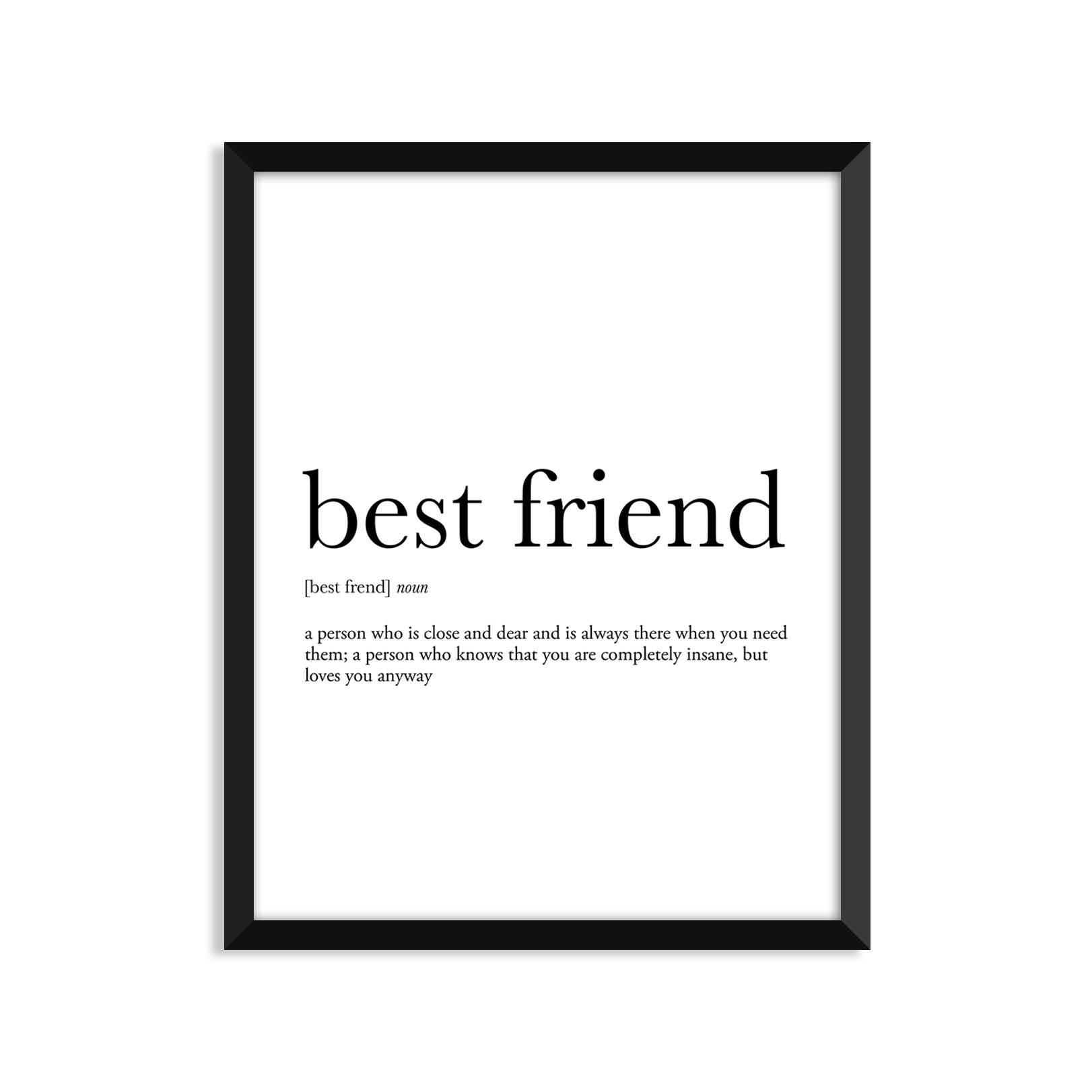 best friend definition romantic dictionary art print office | etsy
